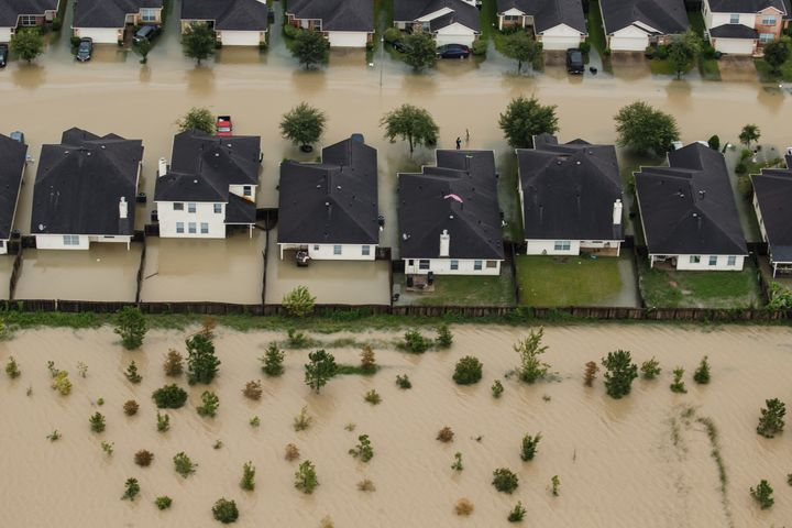 HOUSTON, TEXAS -- TUESDAY, AUGUST 29, 2017: Residential neighborhoods near the Interstate 10 sit in floodwater in the wake of