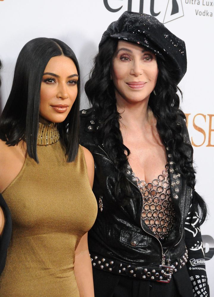 Kim Kardashian and Cher on April 12 in Hollywood.