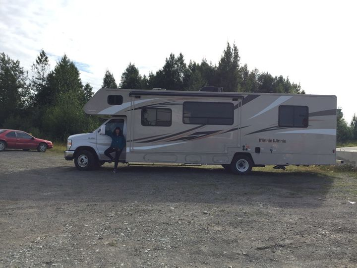 The author and the 33-foot RV she drove through Alaska.