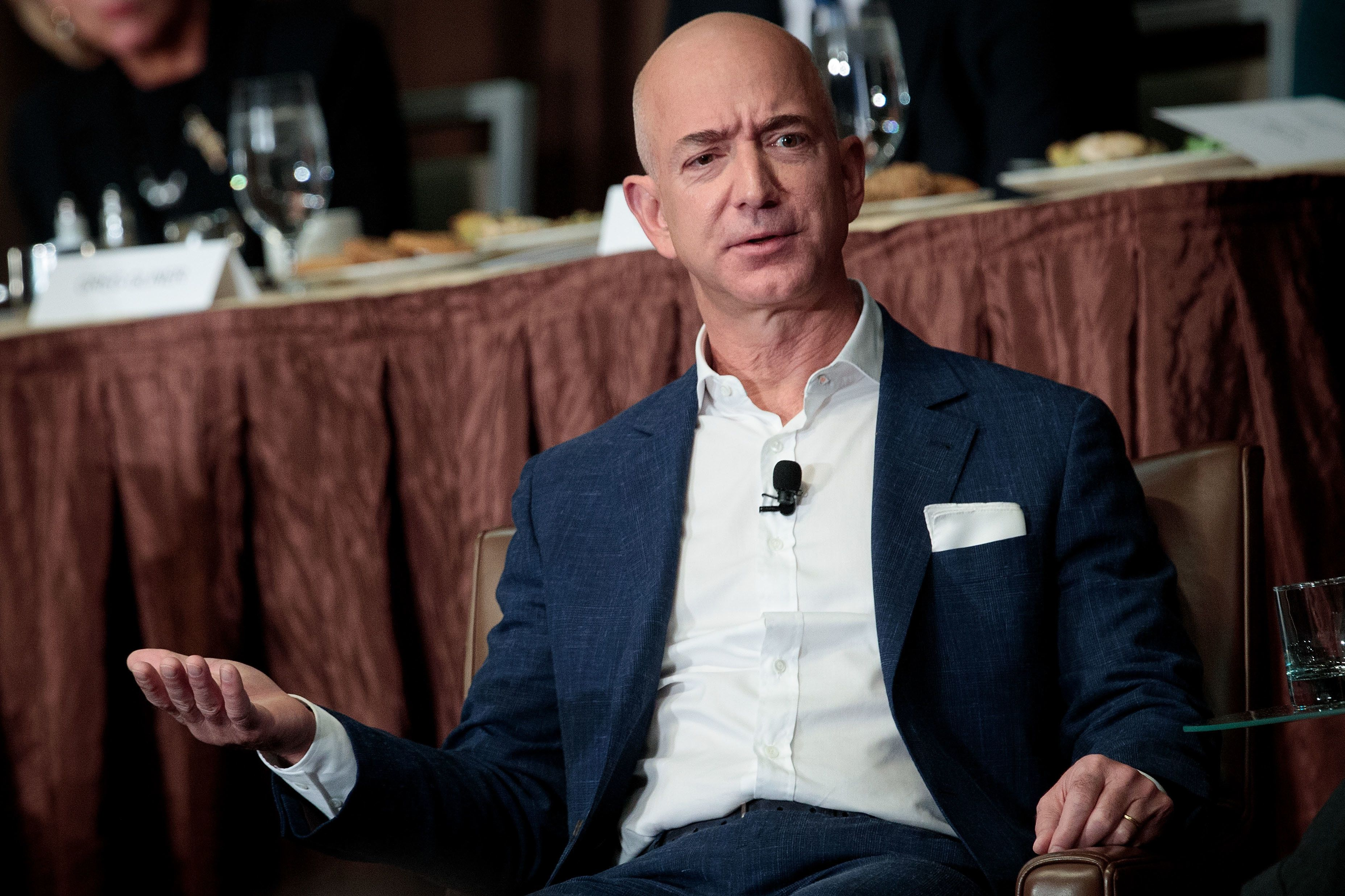 NEW YORK, NY - OCTOBER 27: Jeff Bezos, Chairman and founder of Amazon.com and owner of The Washington Post, addresses the Economic Club of New York, at the Sheraton New York Times Square Hotel, October 27, 2016 in New York City. Bezos discussed the future of Amazon, space travel, and his ownership of The Washington Post. (Photo by Drew Angerer/Getty Images)