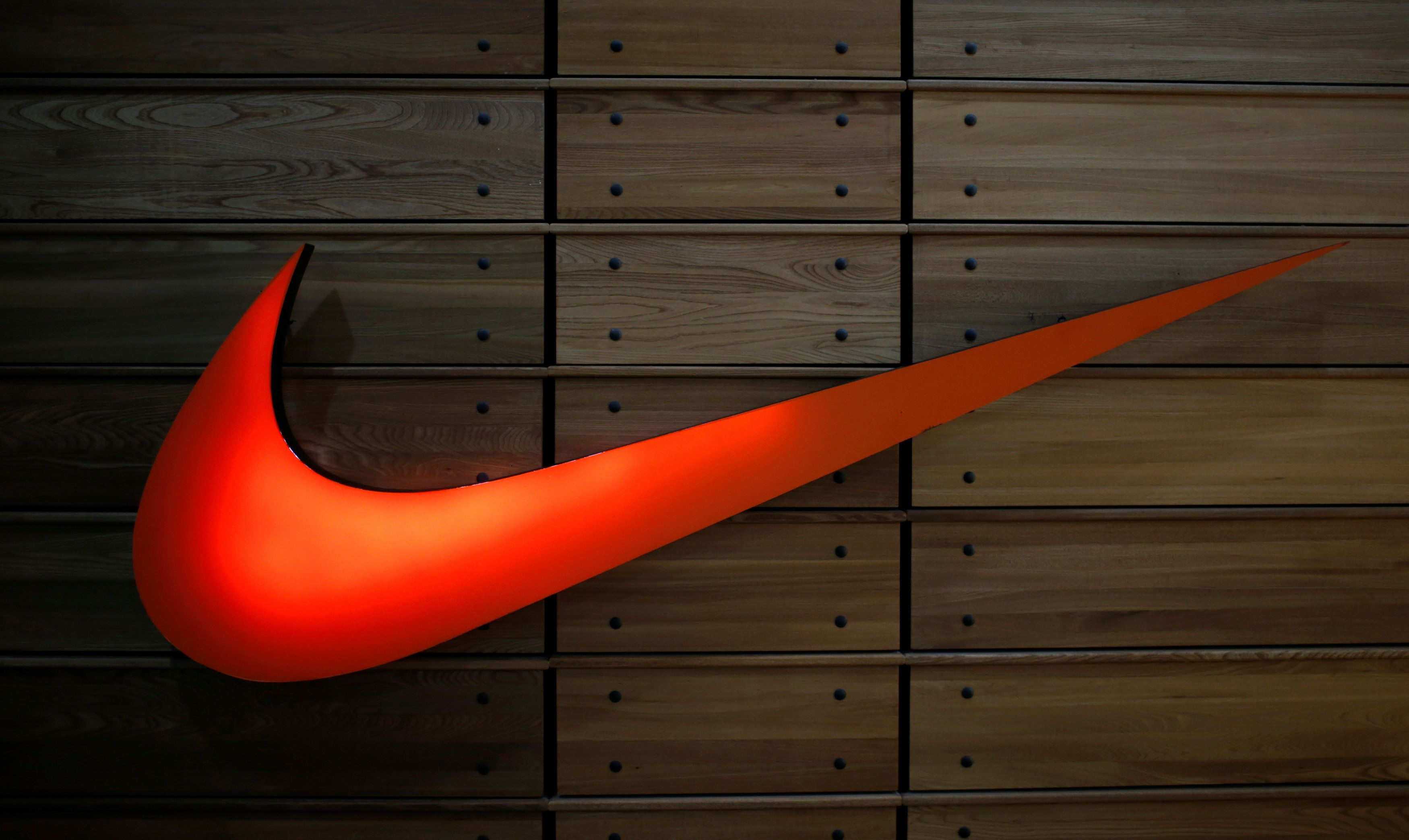 The logo of Nike sportswear maker is seen at a company's store at Tbilisi Mall in Tbilisi, Georgia, April 22, 2016. REUTERS/David Mdzinarishvili