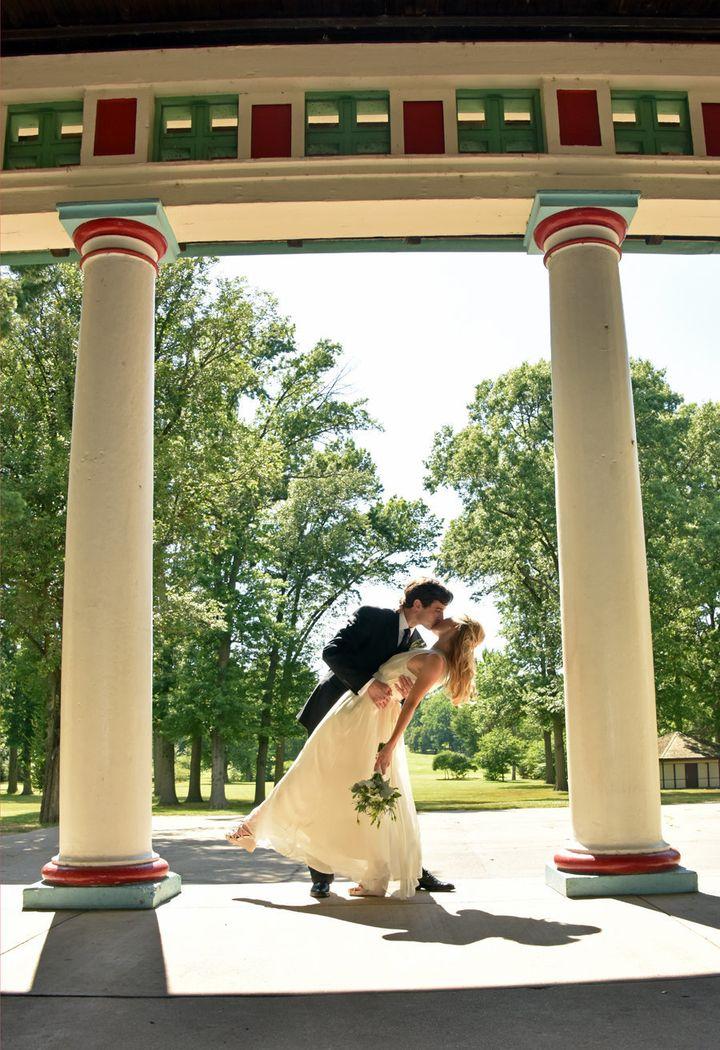 A romantic kiss at the pavilion inTower Grove Park.