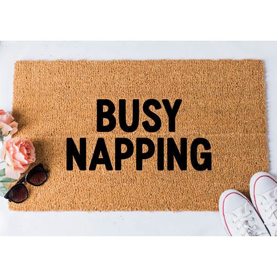 """<a href=""""https://www.etsy.com/listing/281427940/busy-napping-doormat-funny-mat-welcome?gpla=1&gao=0&utm_campaign=shop"""