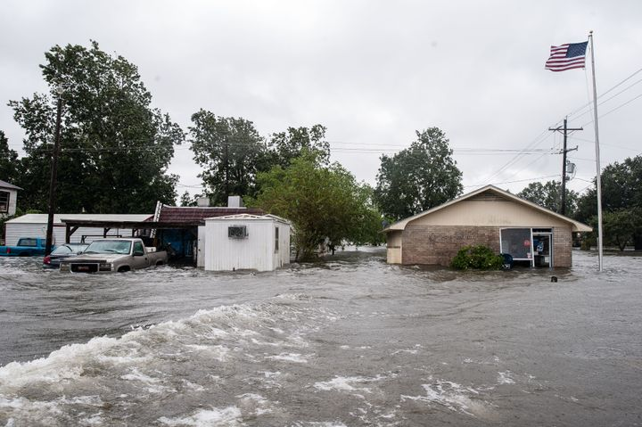 The post office in Nome, Texas, was flooded Wednesday.