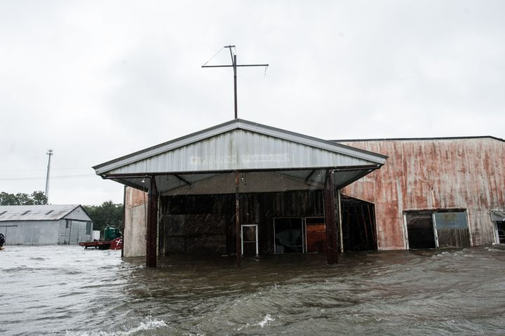 Floodwaters rise in Nome, in southeast Texas.