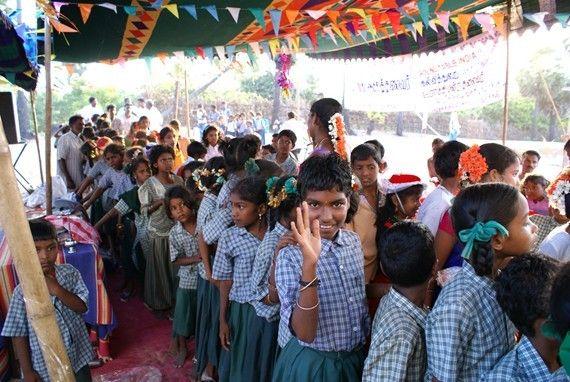 The School Children Lining Up To Meet Us, Sothikuppam, Tamil Nadu, India