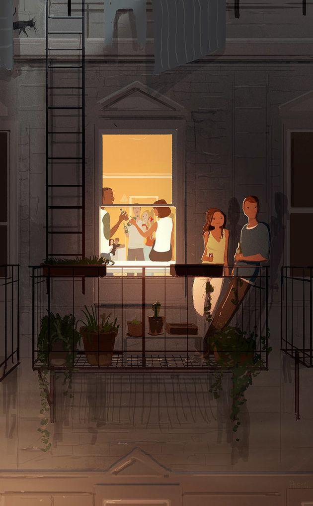 Además de capturar su vida familiar, Campion también dibuja a grupos de personas, gente haciendo cosas,...