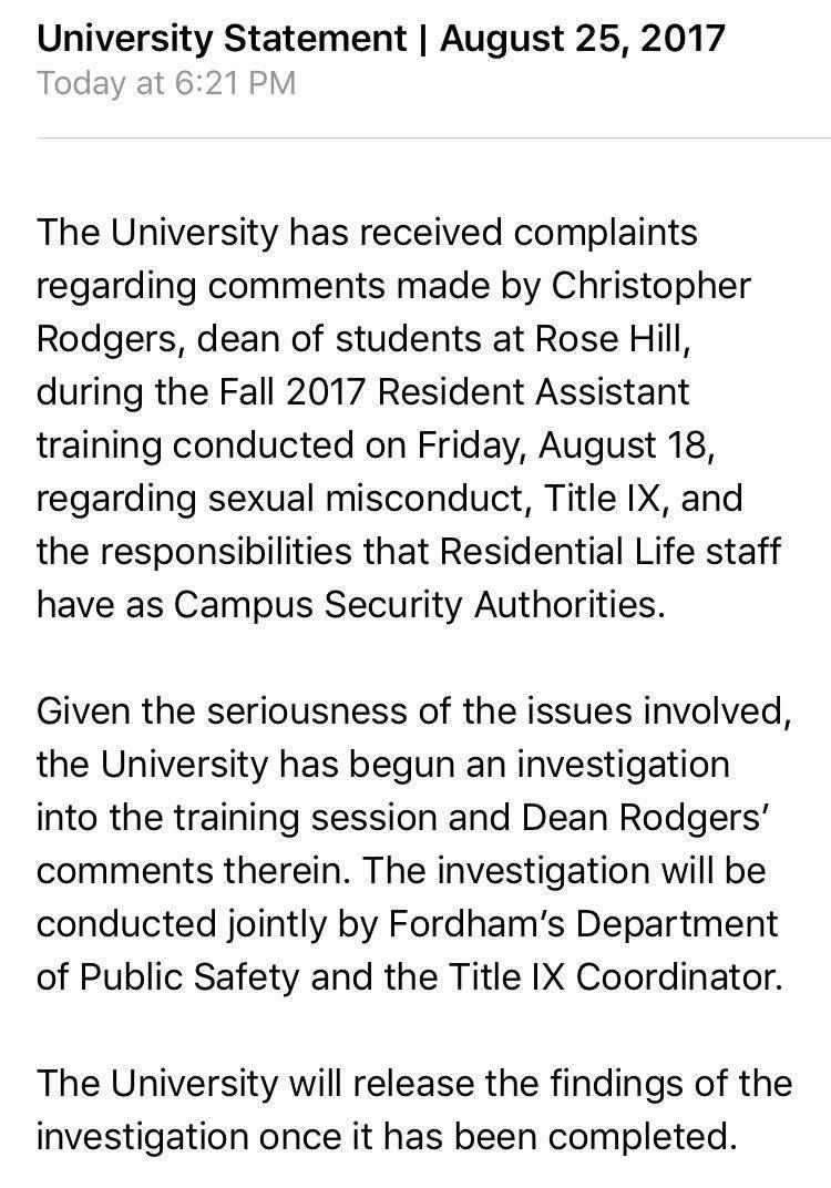 Fordham University's emailed statement to students.