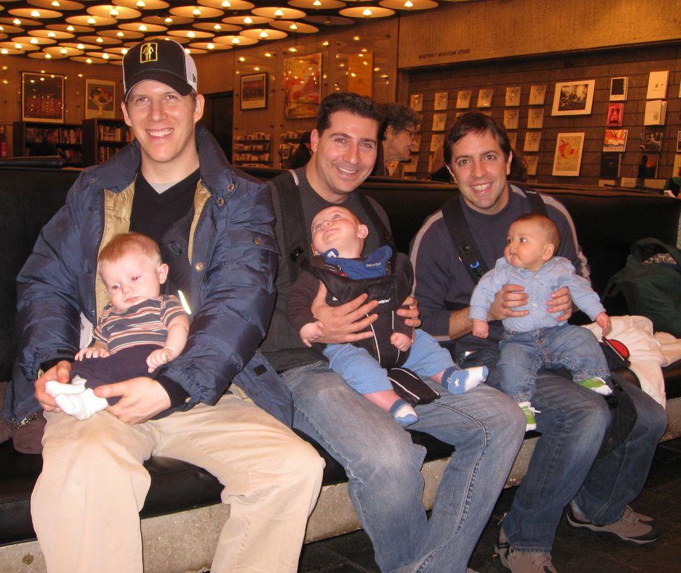Lance Somerfeld, Matt Schneider, and John Hewitt at Whitney Museum of Art at one of their first City dads Group meet-up activities.