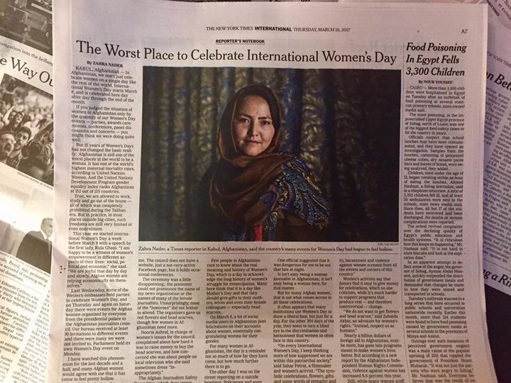 A New York Times spread written by Sahar Speaks alumna Zahra Nader.