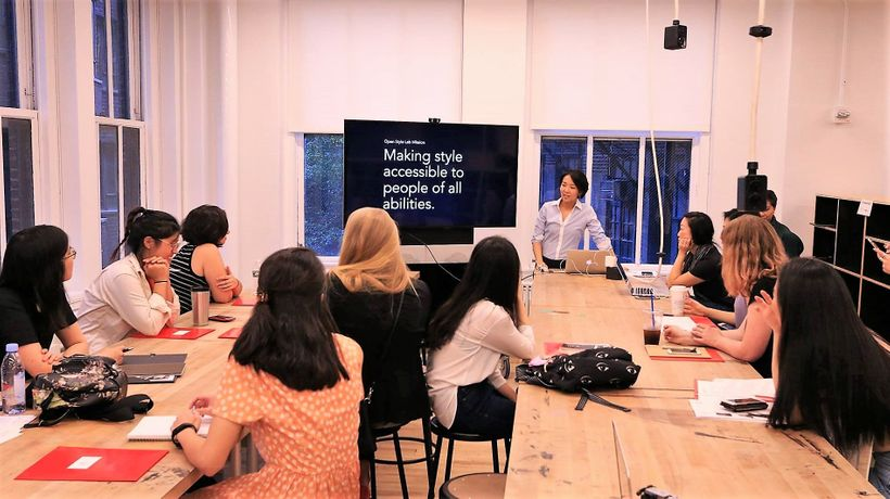 """Making style accessible to people of all abilities""; OSL Executive Director, Grace Jun, briefing this past summer's fellows"