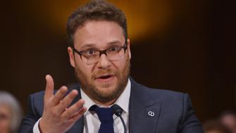 Actor and Alzheimer's advocate Seth Rogen testifies before the Senate Committee on Appropriations on the rising cost of Alzheimer's in America on February 26, 2014 in the Dirksen Senate Office Building on Capitol Hill in Washington, DC.  AFP PHOTO/Mandel NGAN        (Photo credit should read MANDEL NGAN/AFP/Getty Images)