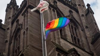 Historic Lower Manhattan houses of worship, Trinity Church and St. Paul's Chapel, raise rainbow flags in honor of LGBT Pride Month on Thursday, June 1, 2017. Photo was taken at Trinity Church of Wall Street located at  75 Broadway in Manhattan. (Photo by Anthony DelMundo/NY Daily News via Getty Images)