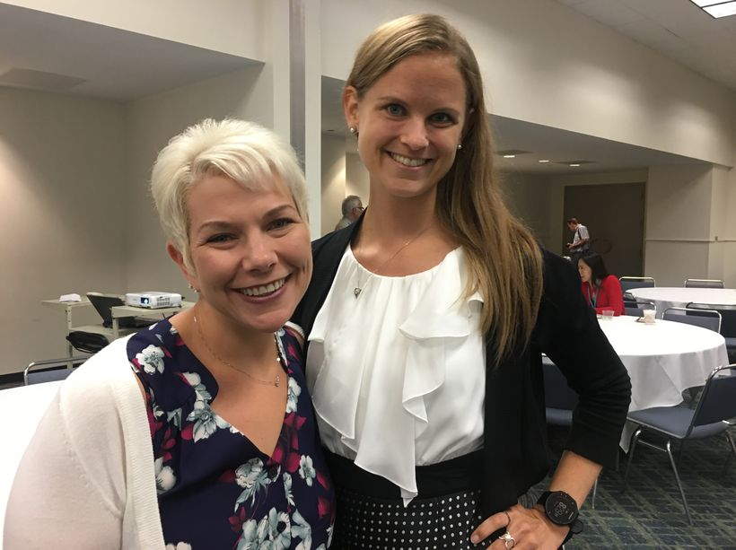 Engineers Susan Donnally and Kristin Waller at the Women's Networking Breakfast.