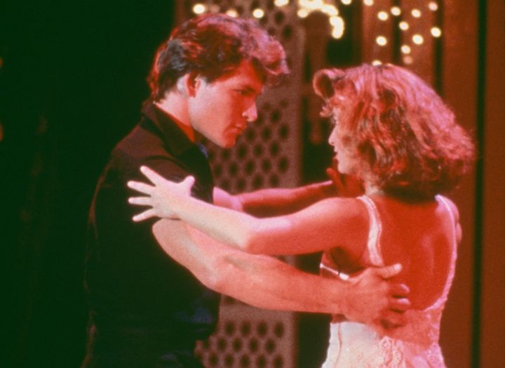 "Johnny (Patrick Swayze) and Baby (Jennifer Grey) in one of ""Dirty Dancing's"" most iconic scenes."