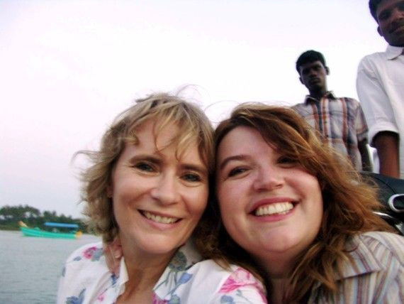 Caroline and Laurie Hart On Hand Pulled Boat Traveling To Sothikuppam, Tamil Nadu, India