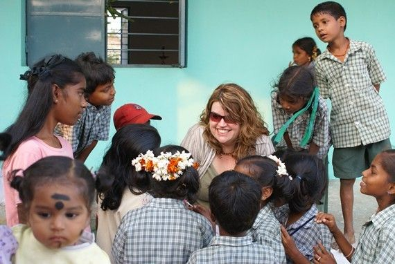 Laurie Hart Sharing Her Love With Children Of Sothikuppam School, Tamil Nadu, India