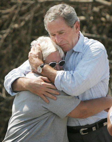 After Hurricane Katrina, former President George W. Bush hugged a hurricane victim whose home was destroyed...