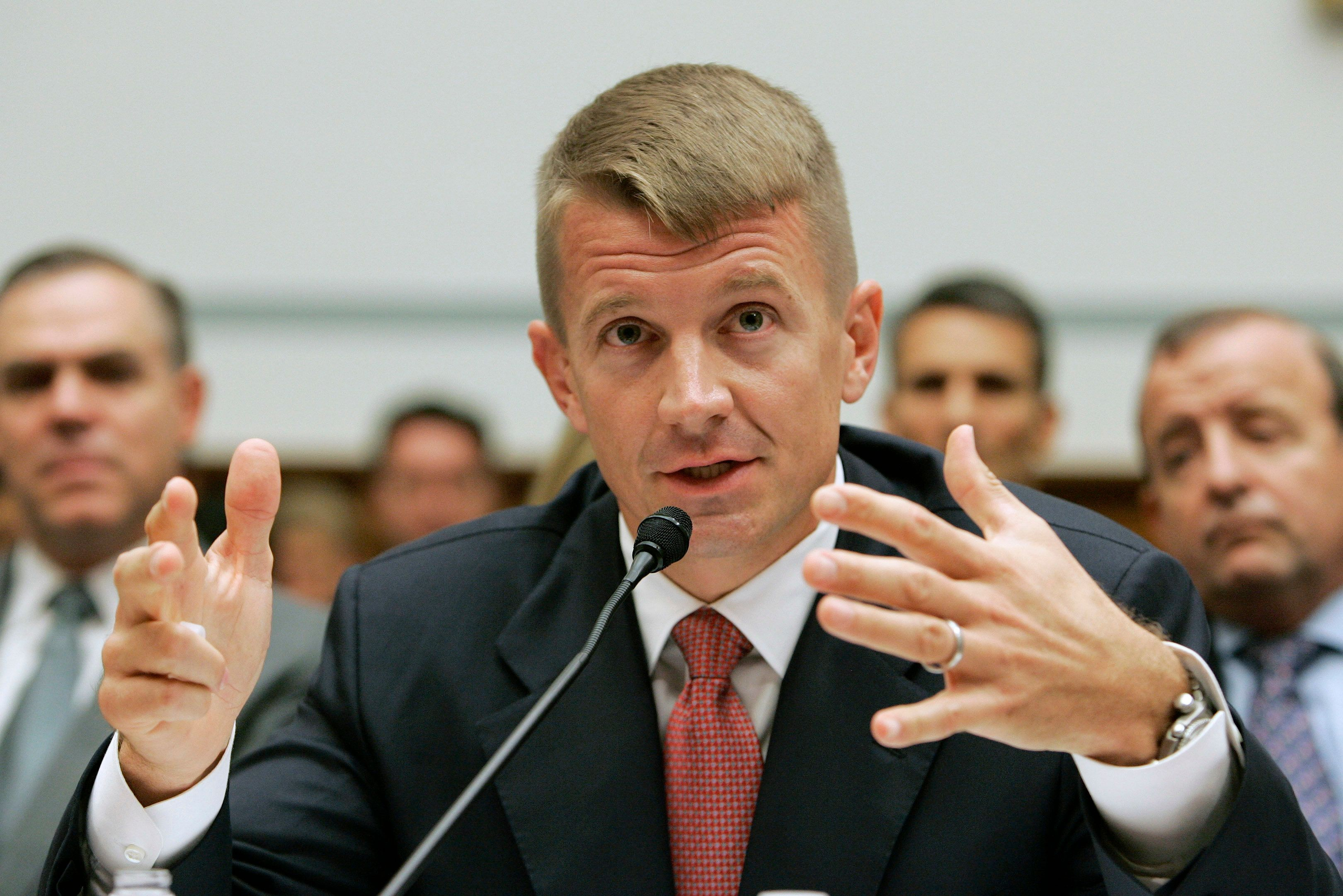 Blackwater USA Chief Executive Erik Prince testifies before the House Oversight and Government Reform Committee on security contracting in Iraq and Afghanistan on Capitol Hill in Washington October 2, 2007.         REUTERS/Larry Downing    (UNITED STATES)