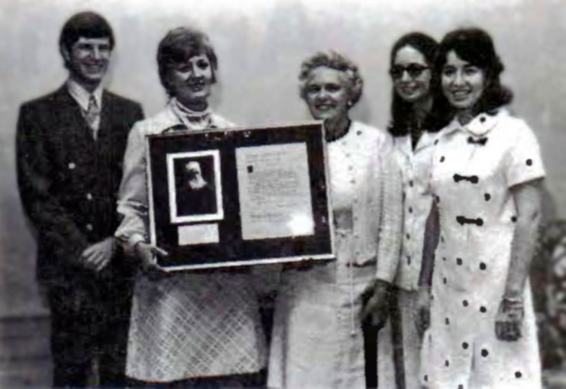 Participants in the 1973 ceremony: Jim Theroux, South Hadley LSA member; Amy Seidel (Marks), Mount Holyoke College Baha'i Clu