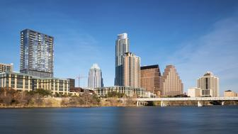 Downtown Austin and the Colorado River from Auditorium Shores in Austin, Texas