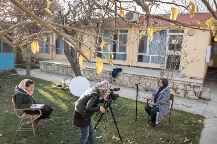Female Afghan journalists in training.