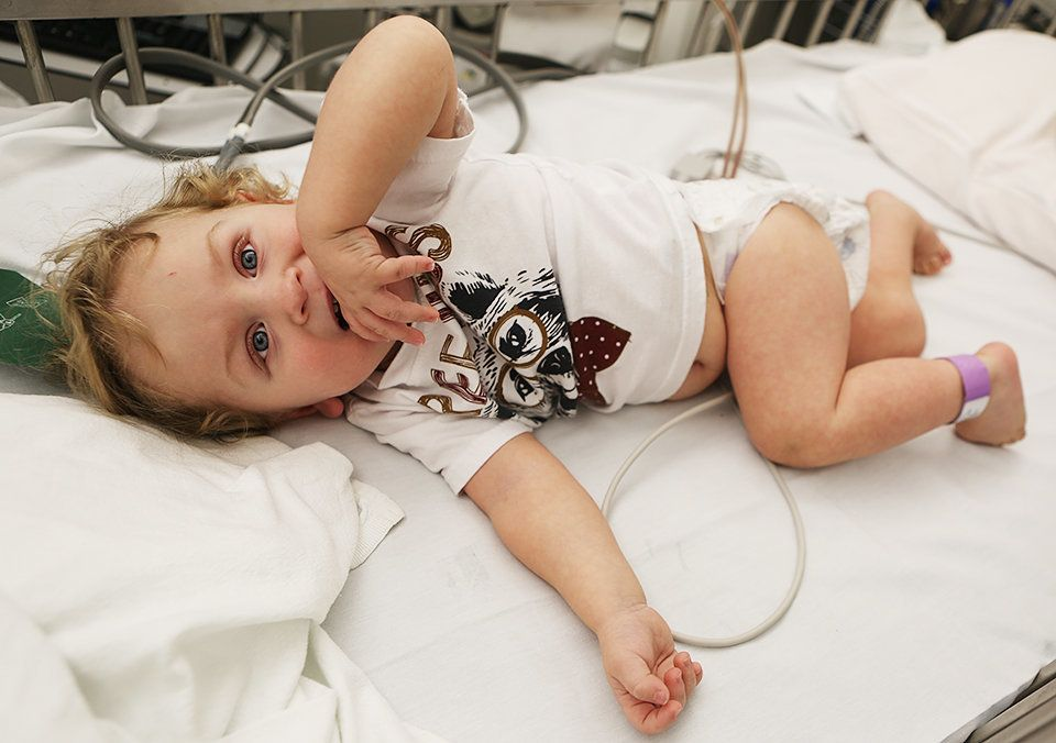 Brannon Morgan, a dialysis patient at Texas Children's Hospital, receives treatment Thursday in theaftermath...