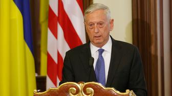 US Secretary of Defense Jim Mattis speaks at a press-conference, during a meeting with Ukrainian President in Kiev, Ukraine, 24 August 24, 2017.  (Photo by STR/NurPhoto via Getty Images)