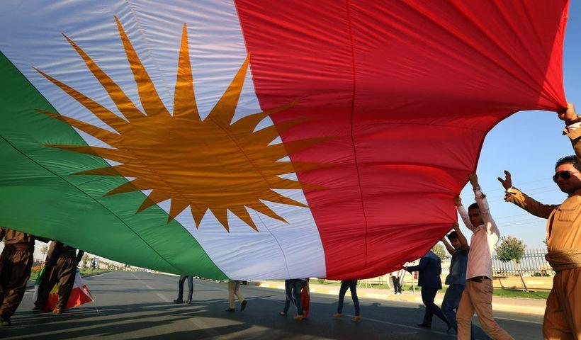 <em>Kurds for independence demonstrate outside the UN in Erbil</em>