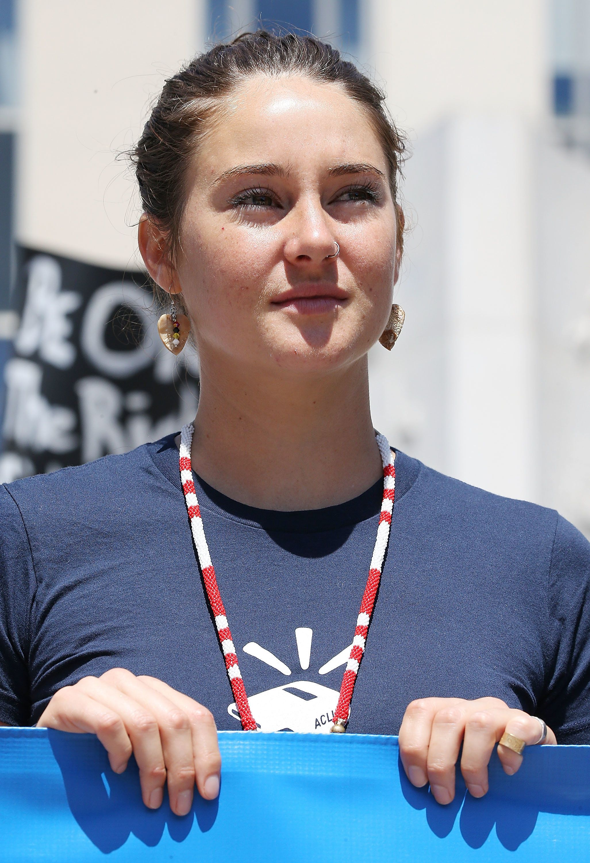 WASHINGTON, DC - AUGUST 24:  Actress Shailene Woodley participates in a rally in support of a lawsuit against The Army Corps of Engineers to protect water and land from the Dakota Access Pipeline on August 24, 2016 outside of the U.S. District Court in Washington, DC. The $3.8 billion pipline, running from Western North Dakota to Illinois, would cut through Standing Rock Sioux Nation sacred lands and water sources.  (Photo by Paul Morigi/WireImage)