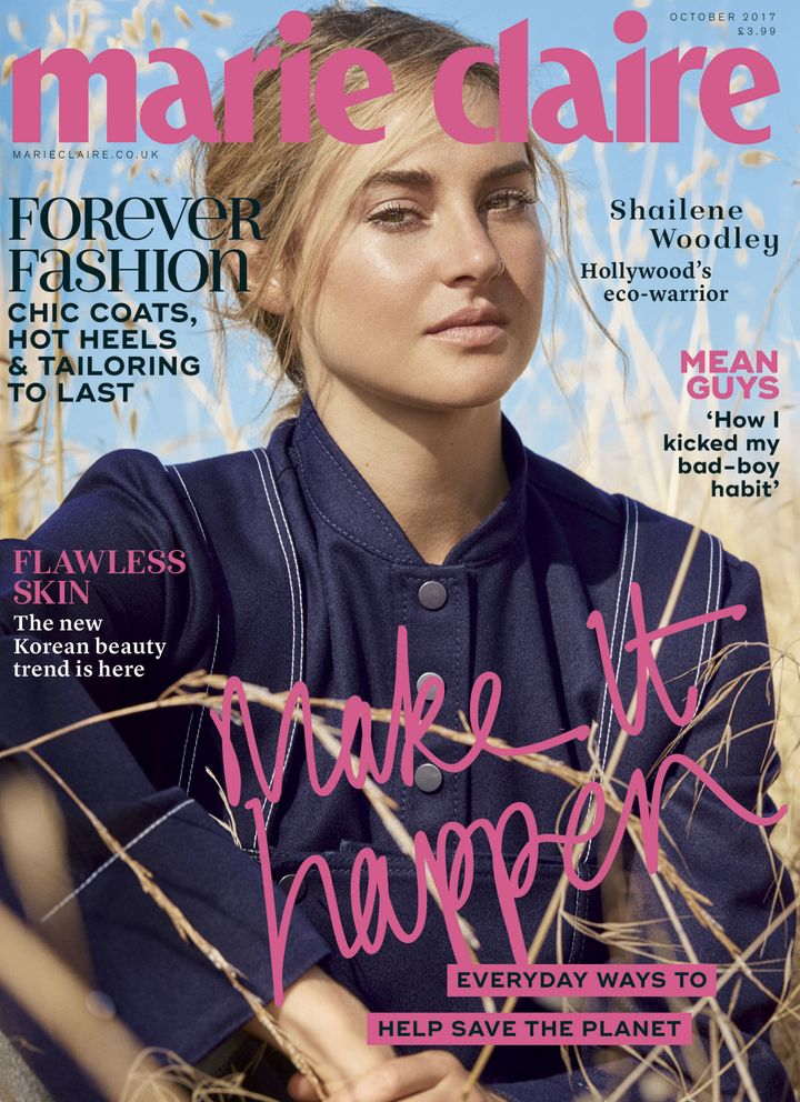 Shailene Woodley on the cover of Marie Claire U.K.'s October issue.