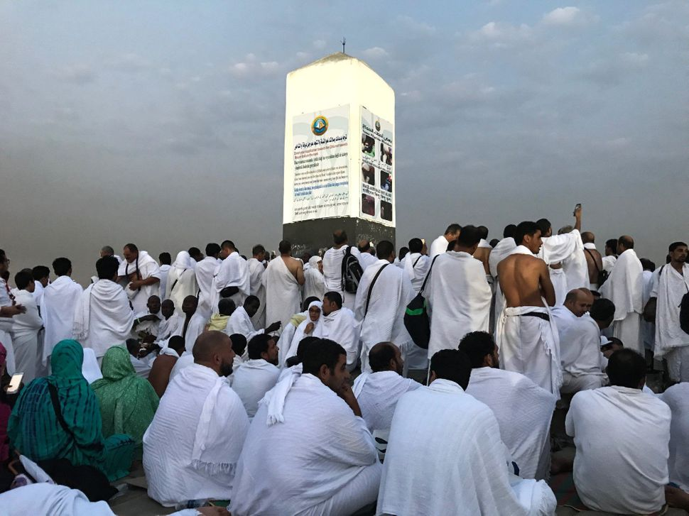 Pilgrims are seen gathered on the Mount Arafat.