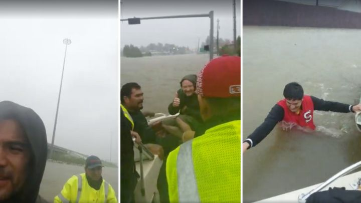 Images from one of several live videos posted to a Facebook page belonging to one of the men whose rescue efforts ended in tr