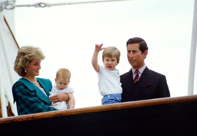 La princesa Diana en Venecia con su familia.