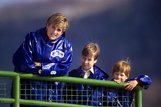 La princesa Diana, el príncipe Guillermo y el príncipe Enrique visitando las cataratas del Niágara.
