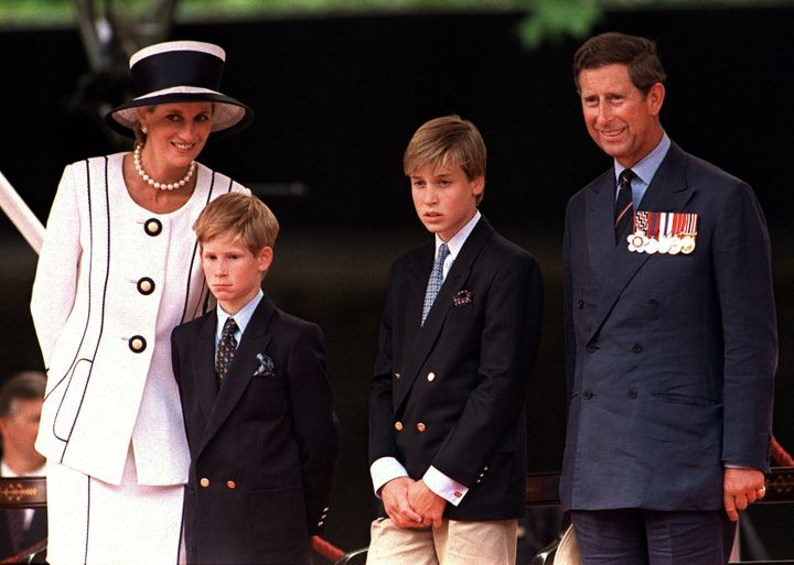 Princess Diana, Prince Harry, Prince William and Prince Charles in London in 1994.