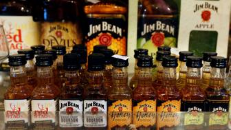Various bourbon whiskeys made by Jim Beam are displayed for sale inside a shop in Beirut, Lebanon June 22, 2017. Picture taken June 22, 2017. REUTERS/Mohamed Azakir