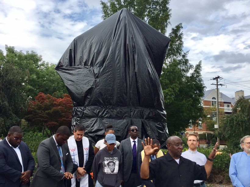 <em>Religious and community leaders kicking off the March to Confront White Supremacy in front of the Robert E. Lee statue in