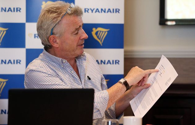 Ryanair chief executive officer Michael O'Leary at a press conference in