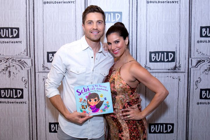 "Eric Winter and Roselyn Sanchez attend Build Presents to discuss their bilingual children's cook ""Sebi and the Land of Cha Ch"
