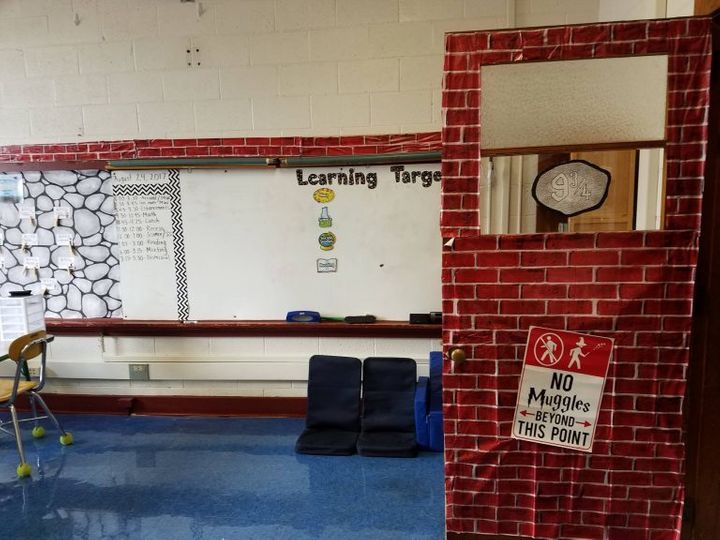 <p>Inspired by the Harry Potter books, fourth-grade teacher Jessica Moeller decorated her classroom door in North Carolina as an entrance to Platform 9 3/4.</p>
