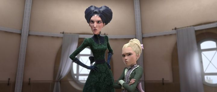 "In ""Leap!,"" Kate McKinnon voices the wicked Régine, pictured on the left, next to Maddie Ziegler's Cami"