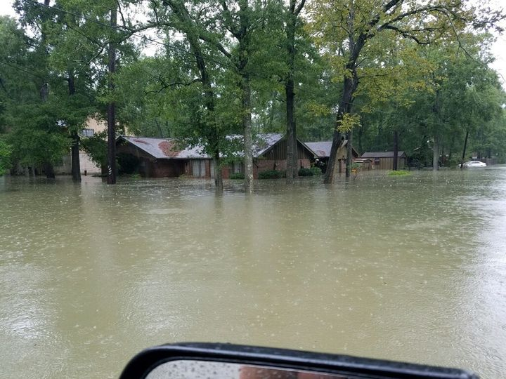 A home in Dickinson, Texas, on Aug. 27 as seen from Brandon Parker's rescue boat.