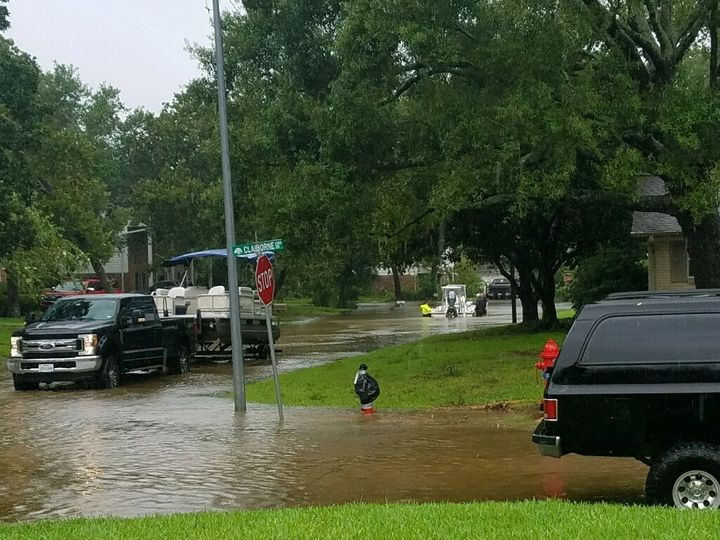 Brandon's neighborhood in League City, Texas, on Aug. 29.