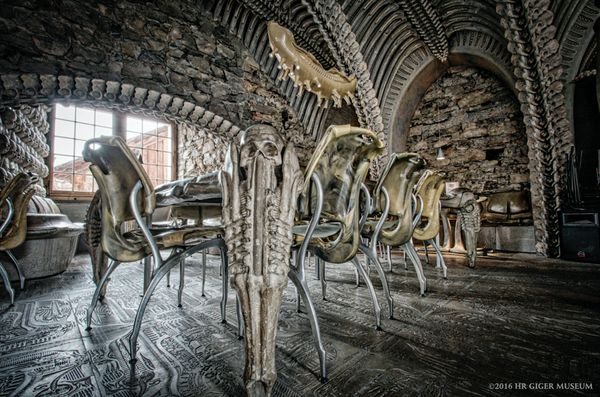 This alien-themed HR Giger Bar, found in Château St. Germain in Gruyères, Switzerland, is a masterpiece worthy o