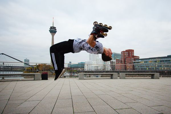 Mirko Hansen of Germany has combined rollerblading and handstands into a new sport -- handskating!