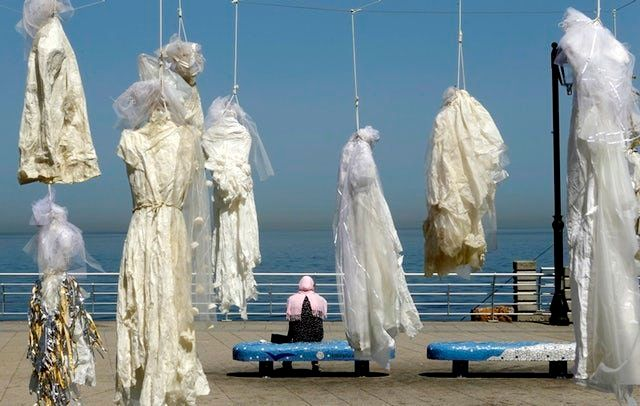 An installation of wedding dresses by Lebanese artist Mireille Honein was on display in Beirut earlier this year, as part of