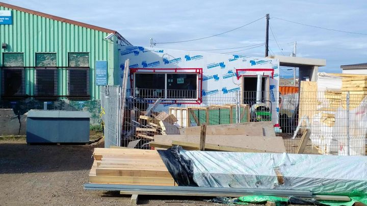 Iqaluit's liquor warehouse will be home to a new beer and wine store once the storefront is completed this summer.