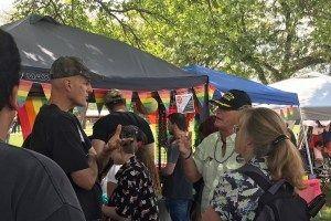 <p>A Vietnam veteran defends Lubbock Pride attendees from hate preacher.</p>
