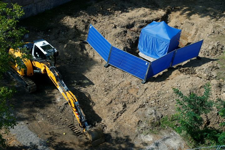 A tent covers the area around an unexploded British World War IIbomb which was found during renovation work on au